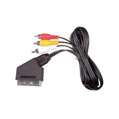 Cablu scart tata - 3 RCA tata cu comutator 1.5m