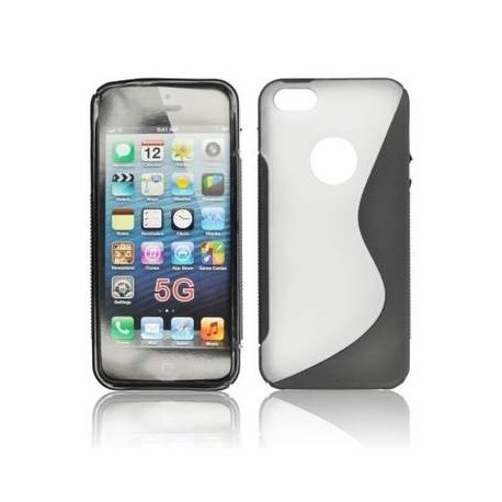 Husa silicon BackCase S-line iPhone 5 negru/transparent