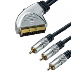 Cablu scart la 3 RCA tata + intr. Gold 3m