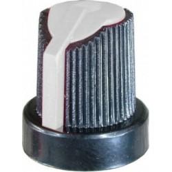 Buton potentiometru plastic alb/negru