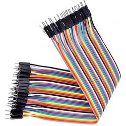 Cablu colorat 40 fire cu conectori tata-tata 20cm