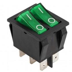 Intrerupator led dublu ON-OFF 6 contacte verde
