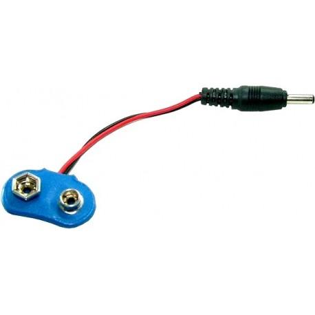 Cablu adaptor soclu baterie 6F22 la mufa c.c. 2.1 x 3.5 mm