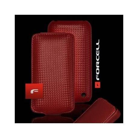 Husa verticala fibra carbon iPhone 4G rosie