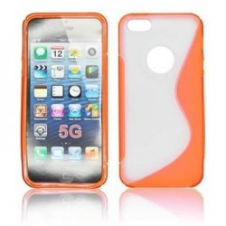 Husa silicon BackCase S-line iPhone 5 portocaliu/transparenta