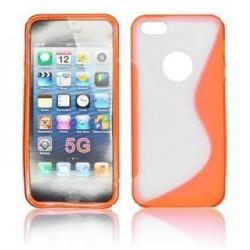 Husa silicon BackCase S-line iPhone 5 portocaliu/transparenta