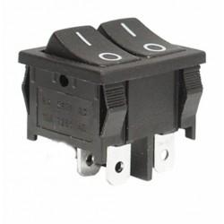 Intrerupator dublu on/off 6A/250V negru