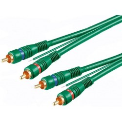 Cablu 2RCA tata la 2RCA tata OFC 1.5m verde
