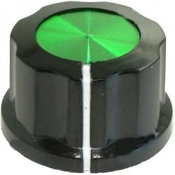 Buton plastic negru/verde 27mm