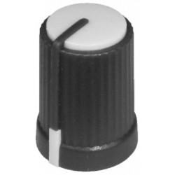 Buton plastic alb pentru ax tesit de 6mm