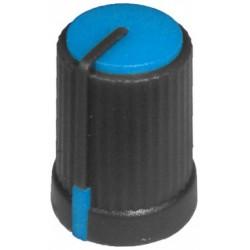 Buton plastic albastru pentru ax tesit de 6mm