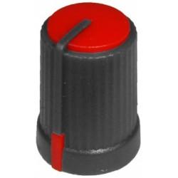 Buton plastic rosu pentru ax tesit de 6mm
