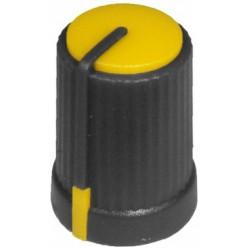 Buton plastic galben pentru ax tesit de 6mm