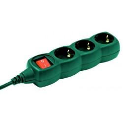 Prelungitor 3cai 3m verde cu intrerupator